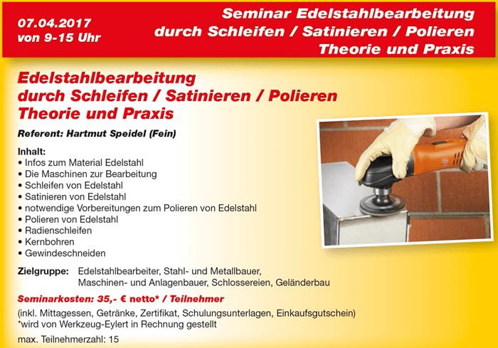 Flyer Eyl-Seminar Edelstahlbearbeitung