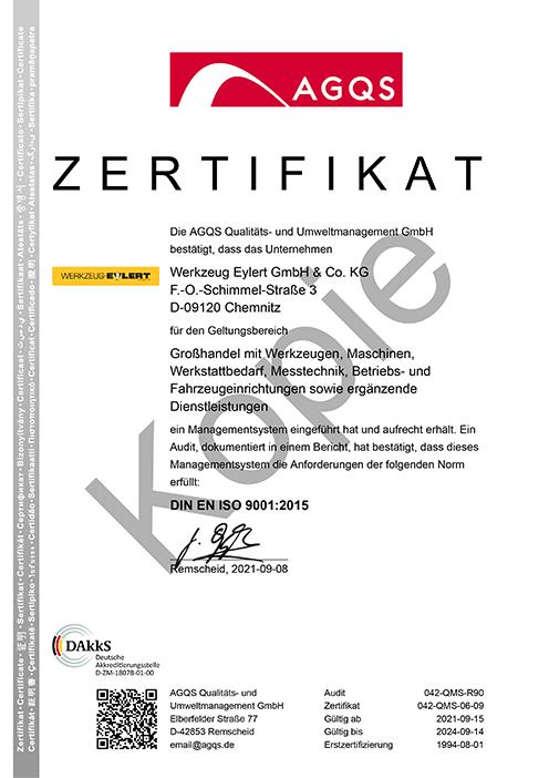 QM-Zertifikat DIN EN ISO 9001:2015